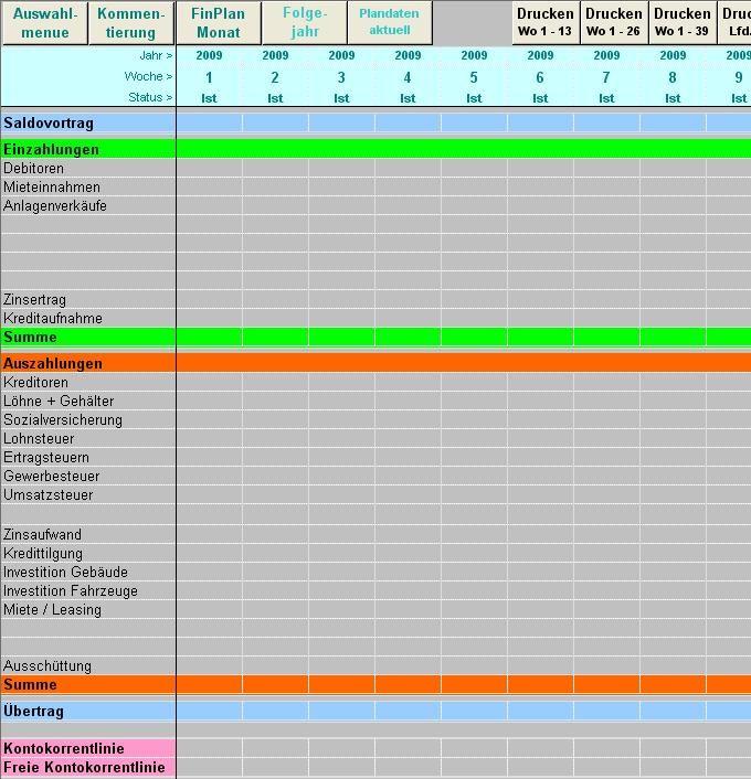 Excel-Tool für Finanzplanung
